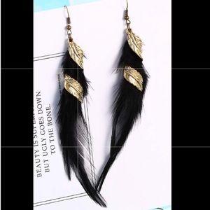 New Faux Feather Earrings Bohemian Fringe
